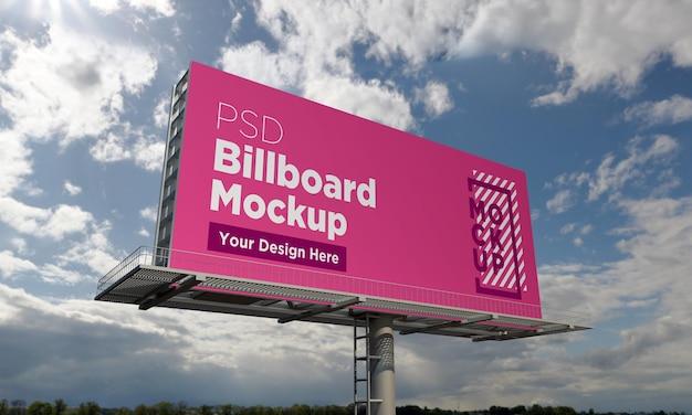 Шаблон макета рекламного щита, вид сбоку