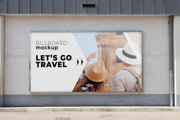 Billboard mockup in urban environment
