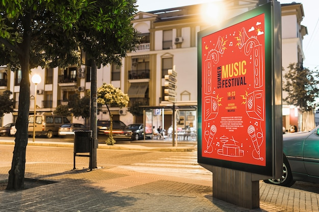Billboard mockup in urban landscape