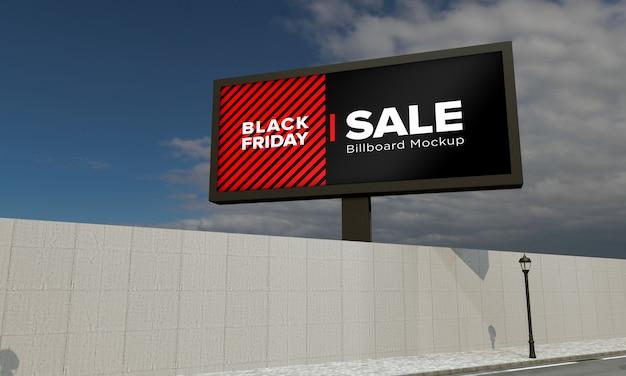 블랙 프라이데이 세일 배너가있는 빌보드 모형