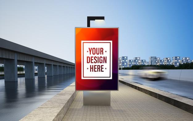 Рекламный щит на улице макет 3d-рендеринга