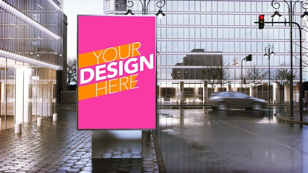 Billboard poster mockup in downtown of city