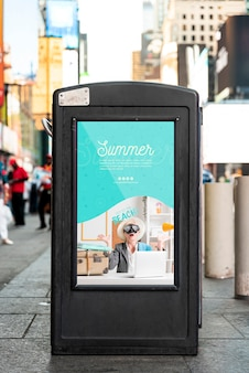 Billboard sign mock-up in city