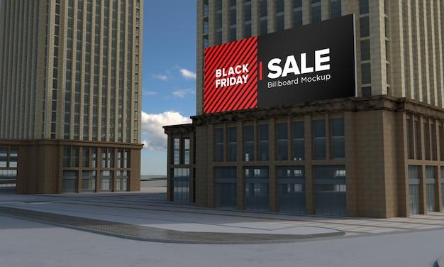Billboard sign mockup on building with black friday sale banner