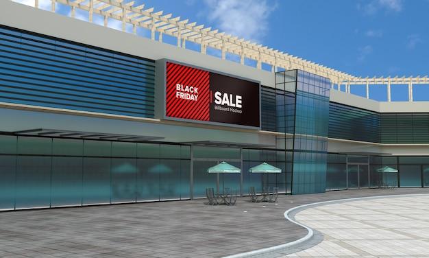 Billboard sign mockup on shopping center with black friday sale banner