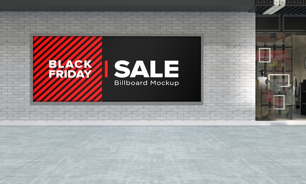 Billboard sign mockup in shopping center with black friday sale banner
