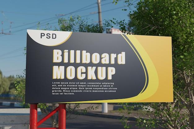 Billboard street mockup с левой стороны