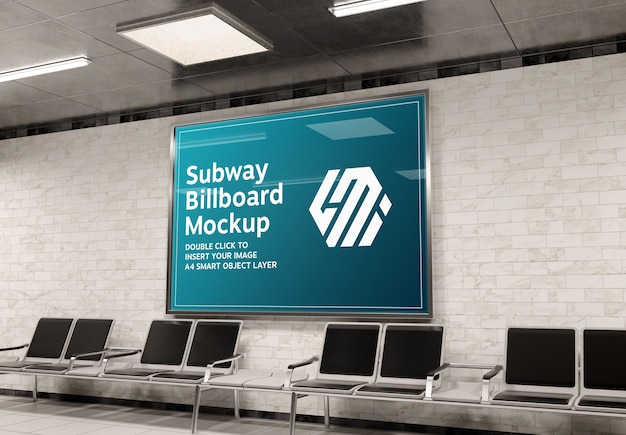 Billboard in subway station mockup