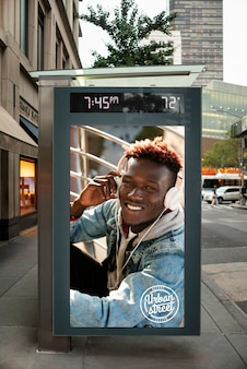 아프리카 미국 사람 모형 광고 판