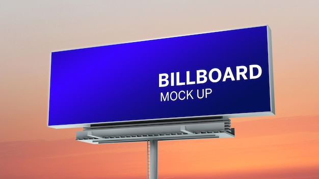 Billboard with sunset sky mock up