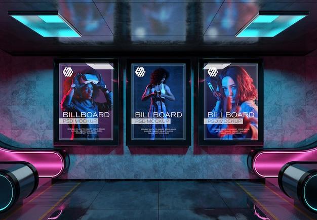 Billboards in neon style underground station mockup