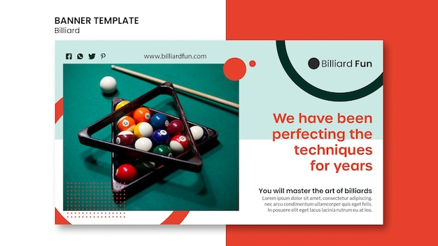 Billiard concept banner mock-up