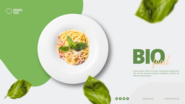 Bio food banner template with photo