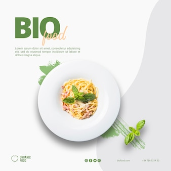 Bio food square banner template