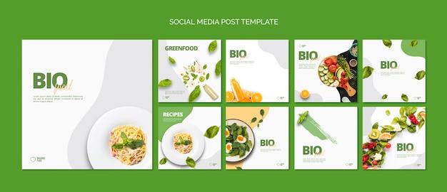 Modello di media sociali di cibo bio