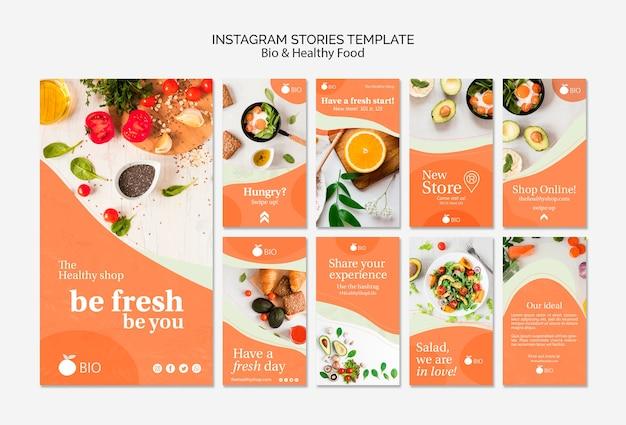 Био и здоровое питание концепция instagram stries шаблон