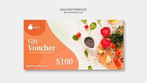 Bio & healthy food concept voucher template