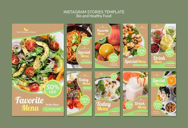 Bio and healthy instagram stories template