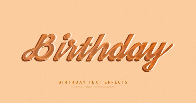 Birthday 3d text style effect