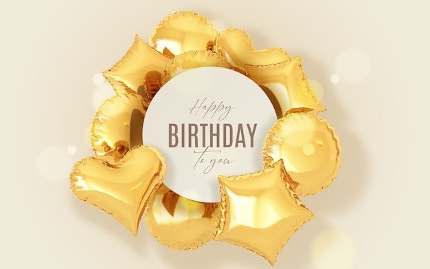 Birthday background with golden balloons and frame
