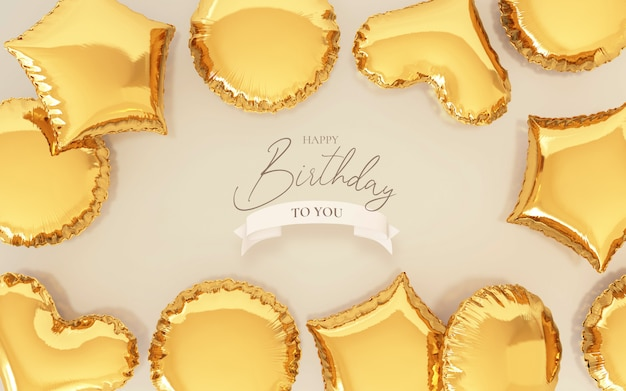 Birthday background with realistic golden balloons