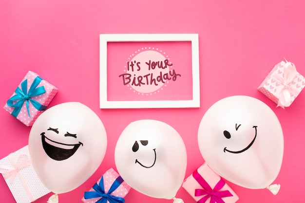Birthday balloons with white frame