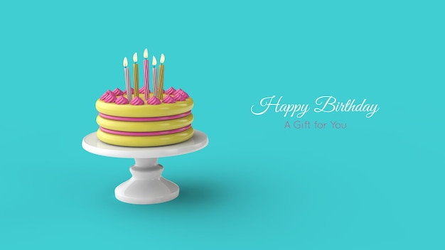 Birthday cake and candle. birthday greeting card template. 3d illustration