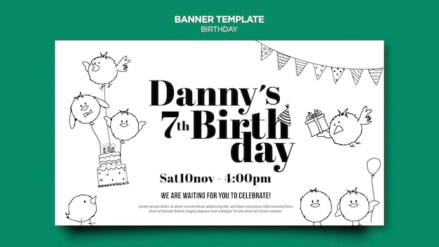 Birthday card banner template