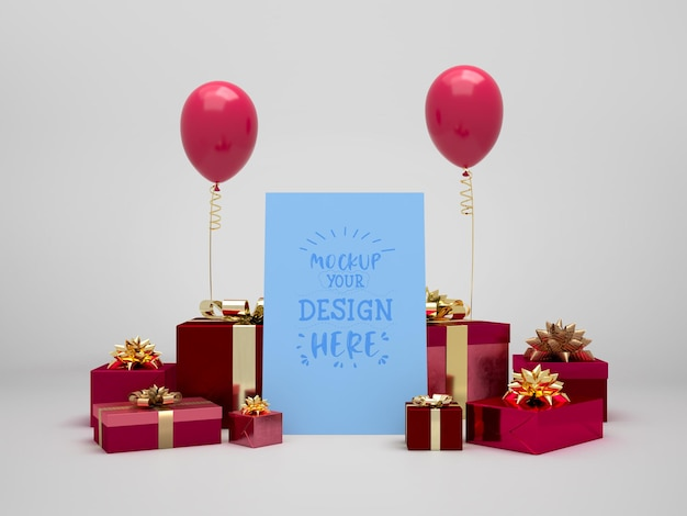 Birthday card mockup among presents and balloons