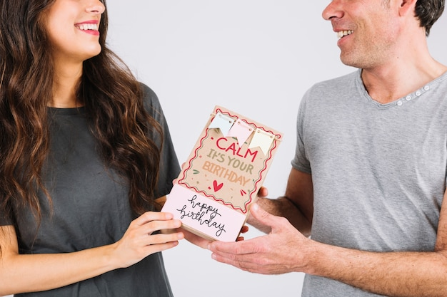 Birthday card mockup with couple