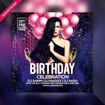 Birthday celebration party flyer