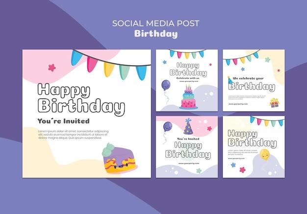 생일 축하 소셜 미디어 게시물