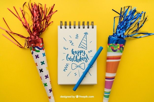 Birthday concept with notepad