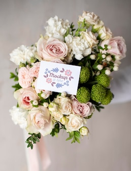 Birthday flowers with card mock-up assortment