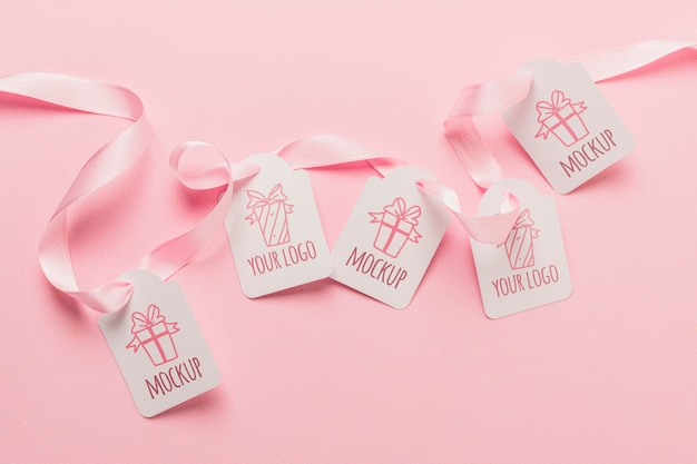 Birthday gift tags mock-ups with pink ribbons