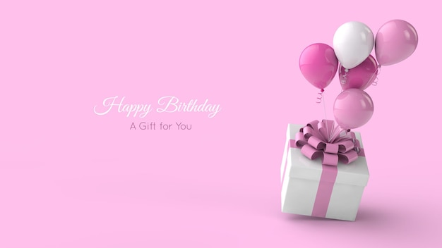 Birthday greeting card template. balloons and present .  3d illustration