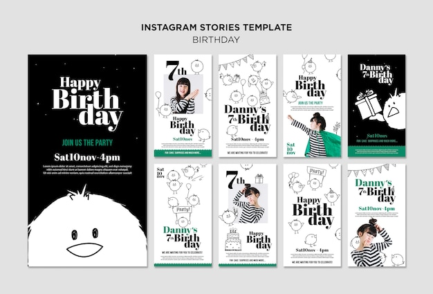 Birthday instagram stories template