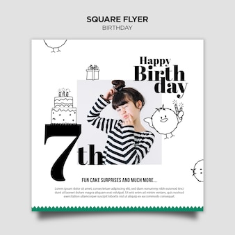 Birthday invitation square flyer