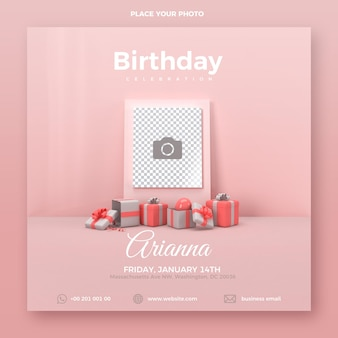 Birthday invitation template with gift boxes and photo space, 3d render
