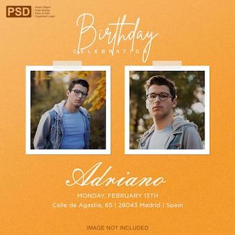 Birthday invitation with photo frame mockup