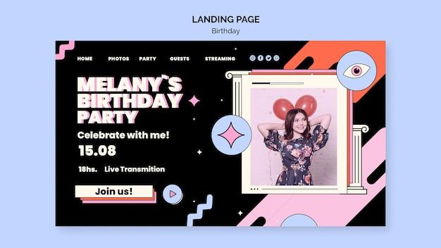Birthday landing page template Premium Psd