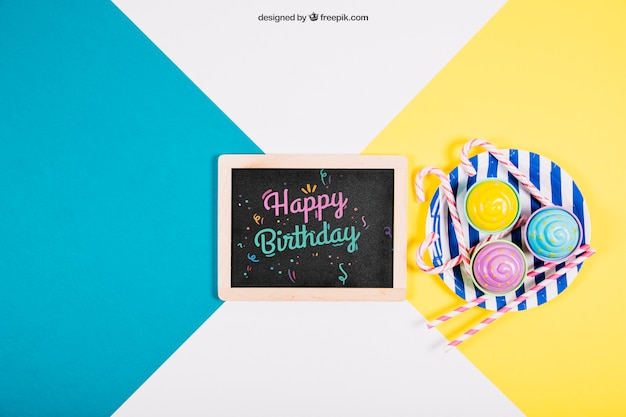 Birthday mockup with slate and plate