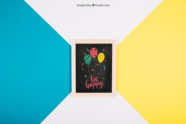Birthday mockup with slate