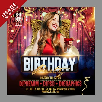 Birthday party event social media promotion