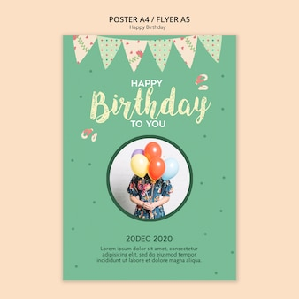 Birthday party flyer template with photo