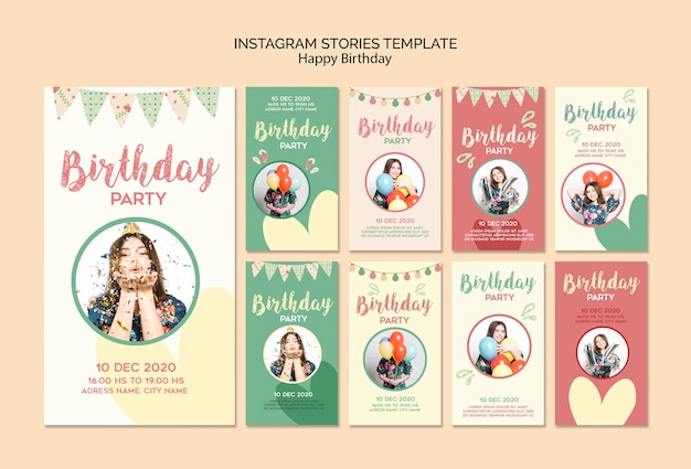 Birthday party instagram stories template with photo
