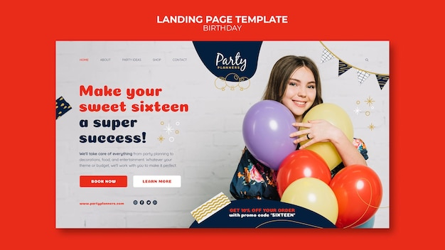 Birthday party landing page