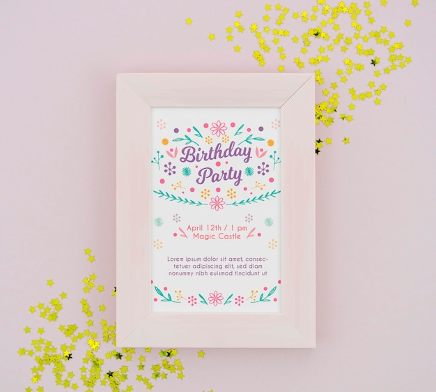 Birthday party poster in frame with golden confetti