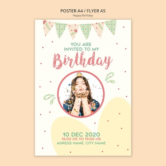 Birthday party poster template with photo
