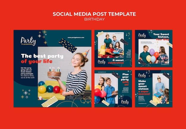 생일 파티 소셜 미디어 게시물
